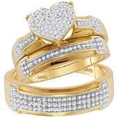 050 CTW Diamond Heart Matching Bridal Wedding Ring