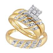 013 CTW Diamond Cluster Matching Bridal Wedding Ring