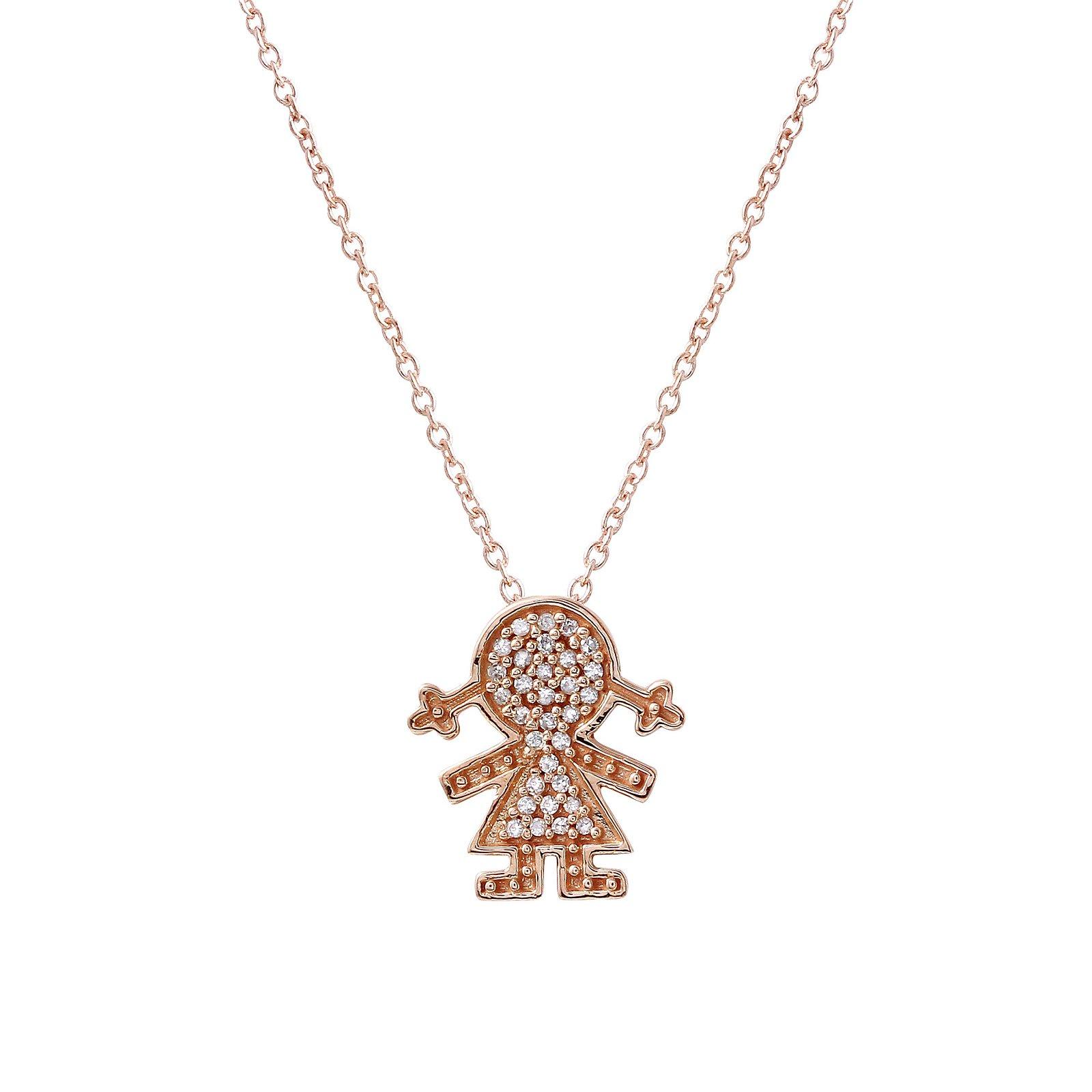 0.11 CTW Diamond Necklace 14K Rose Gold