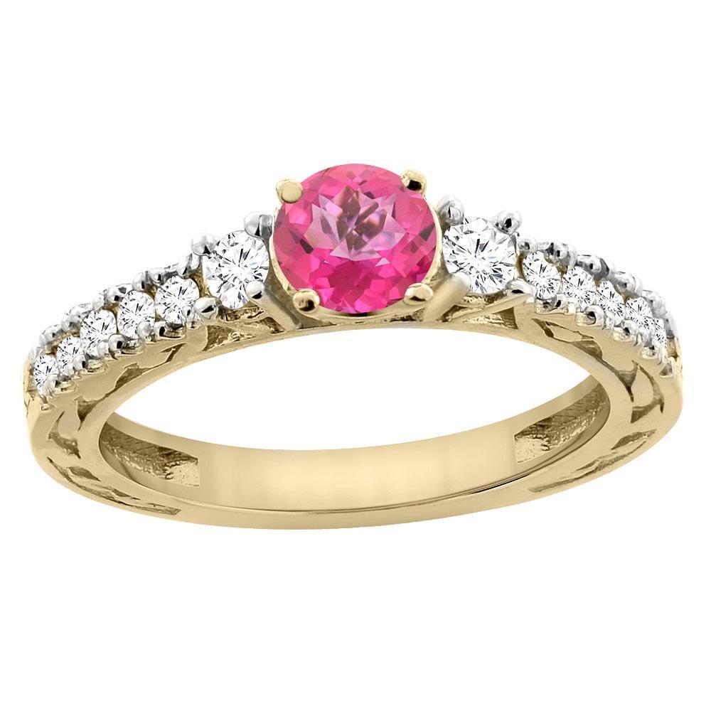 1.35 CTW Pink Topaz & Diamond Ring 14K Yellow Gold