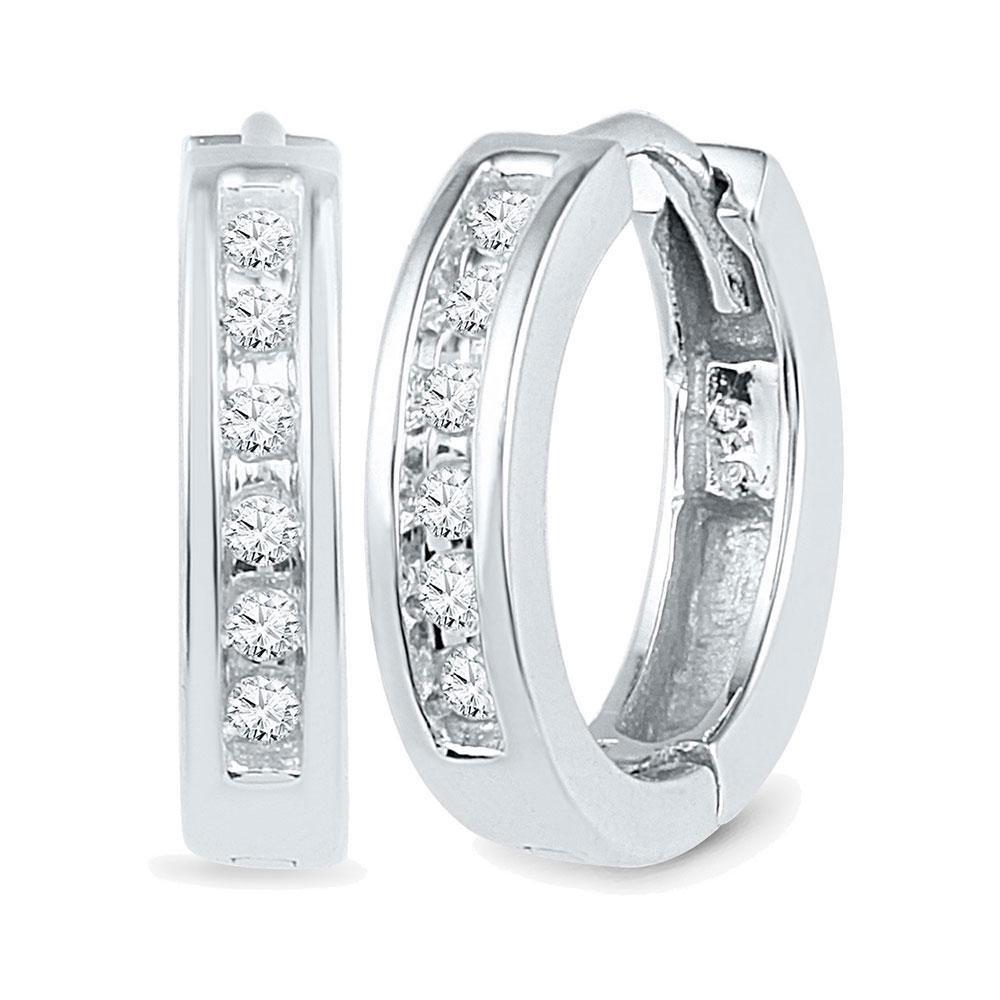 0.12 CTW Diamond Hoop Earrings 10kt White Gold