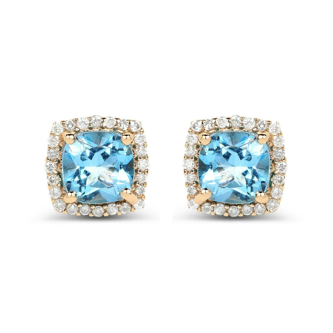 1.58 ctw Swiss Blue Topaz & Diamond Earrings 14K Yellow
