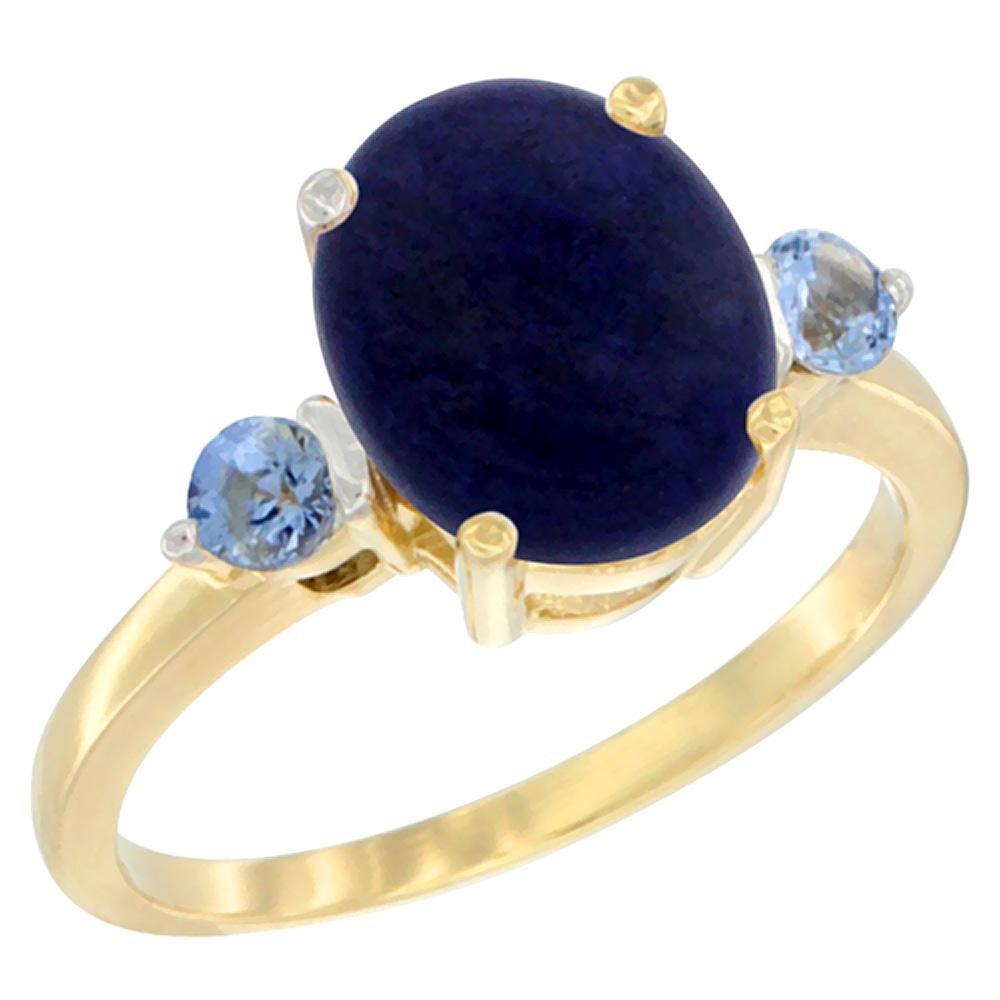2.74 CTW Lapis Lazuli & Blue Sapphire Ring 10K Yellow