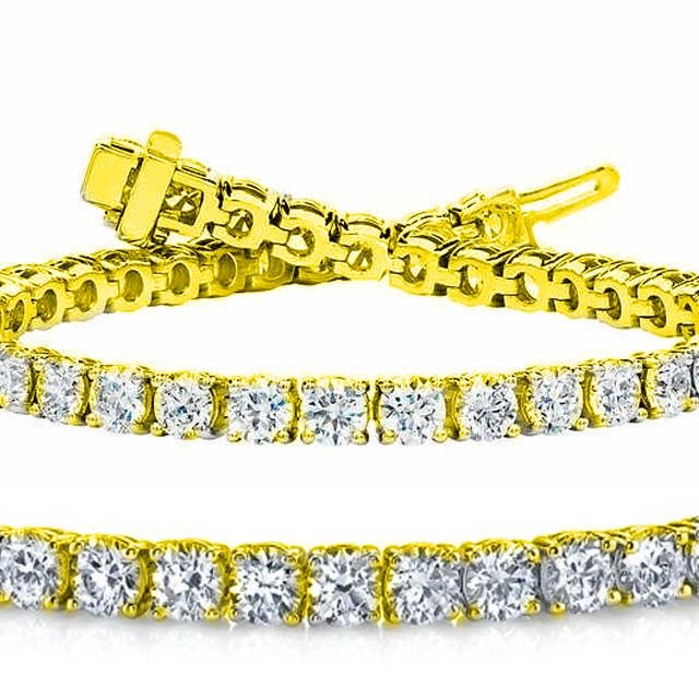 Natural 7ct VS-SI Diamond Tennis Bracelet 14K Yellow