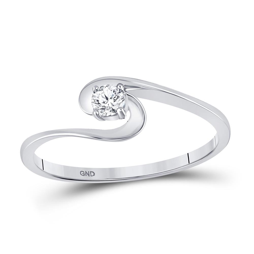0.10 CTW Diamond Solitaire Swirl Promise Bridal Ring