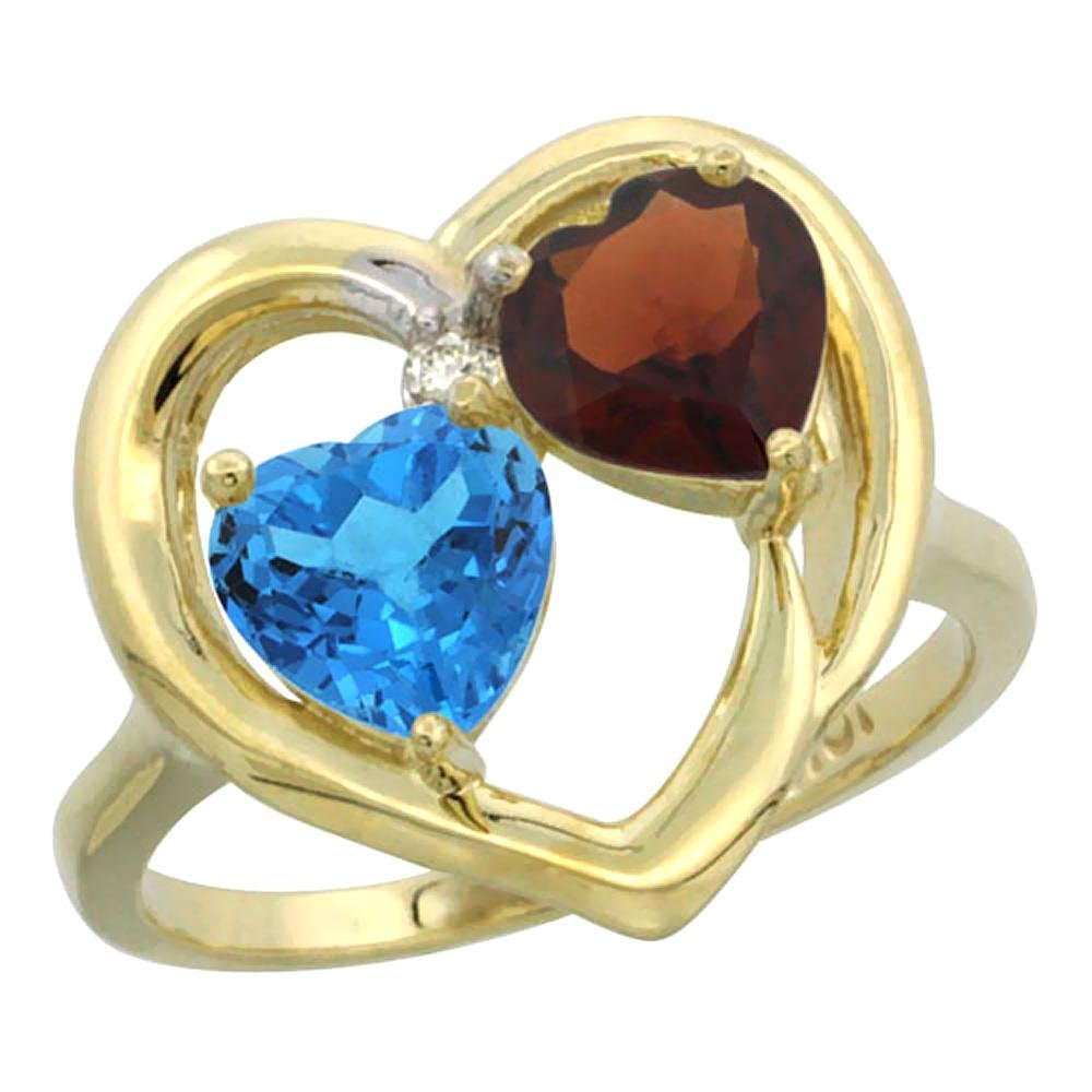 2.61 CTW Diamond, Swiss Blue Topaz & Garnet Ring 10K