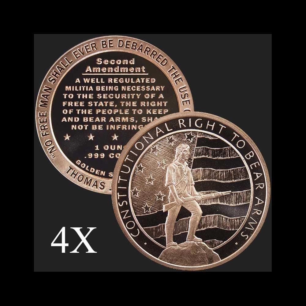1 oz Second Amendment .999 Fine Copper Bullion Round
