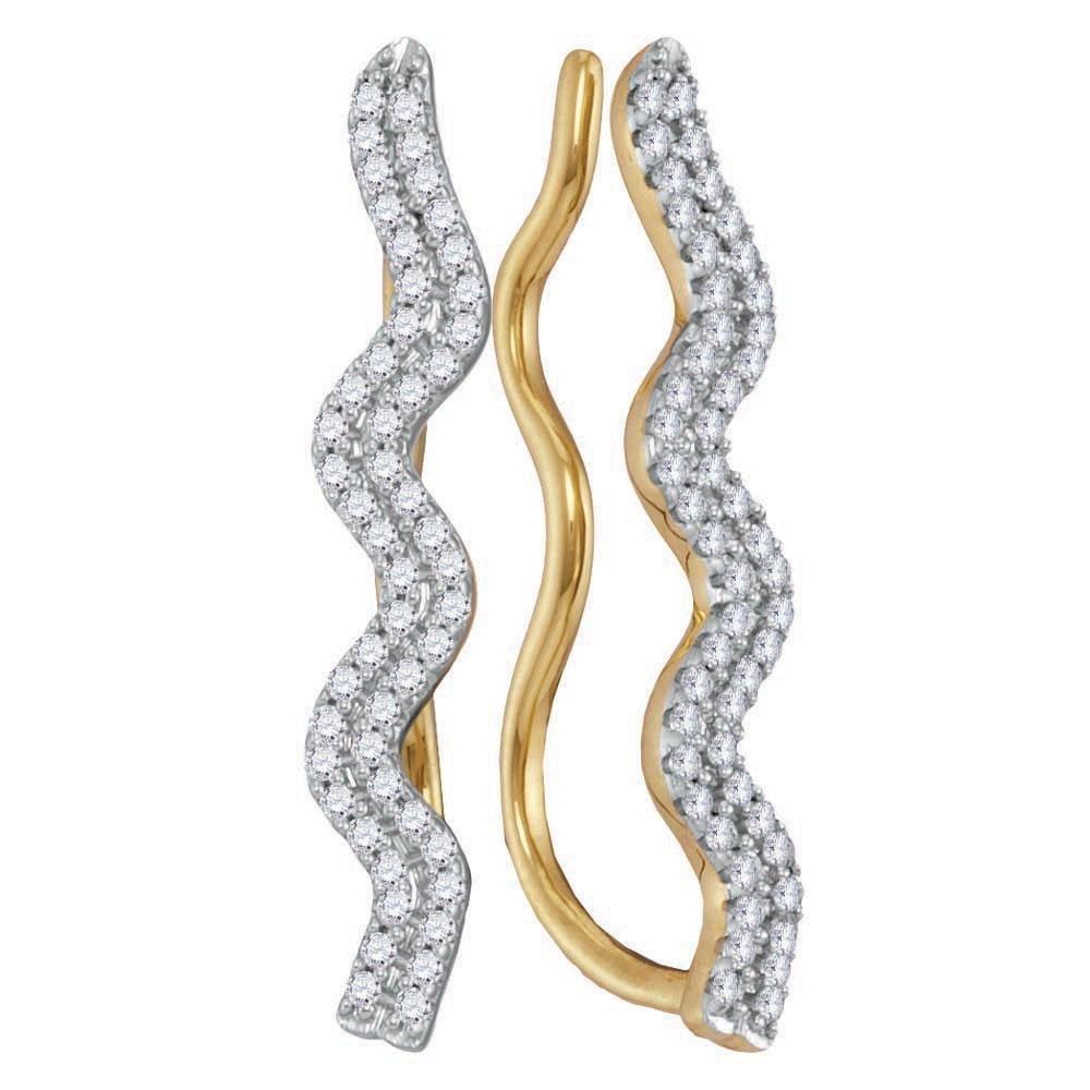 0.25 CTW Diamond Double Two Row Climber Earrings 10kt
