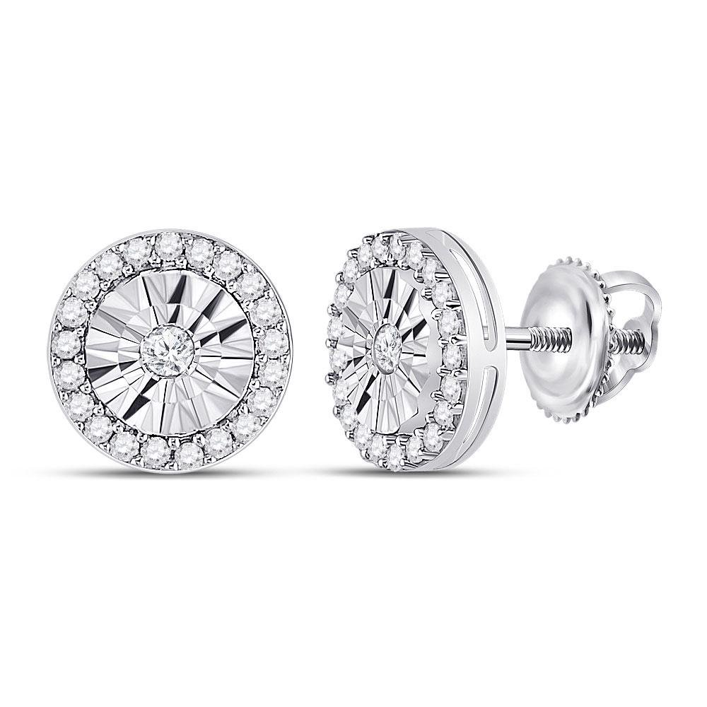 0.30 CTW Diamond Circle Miracle Stud Earrings 10kt