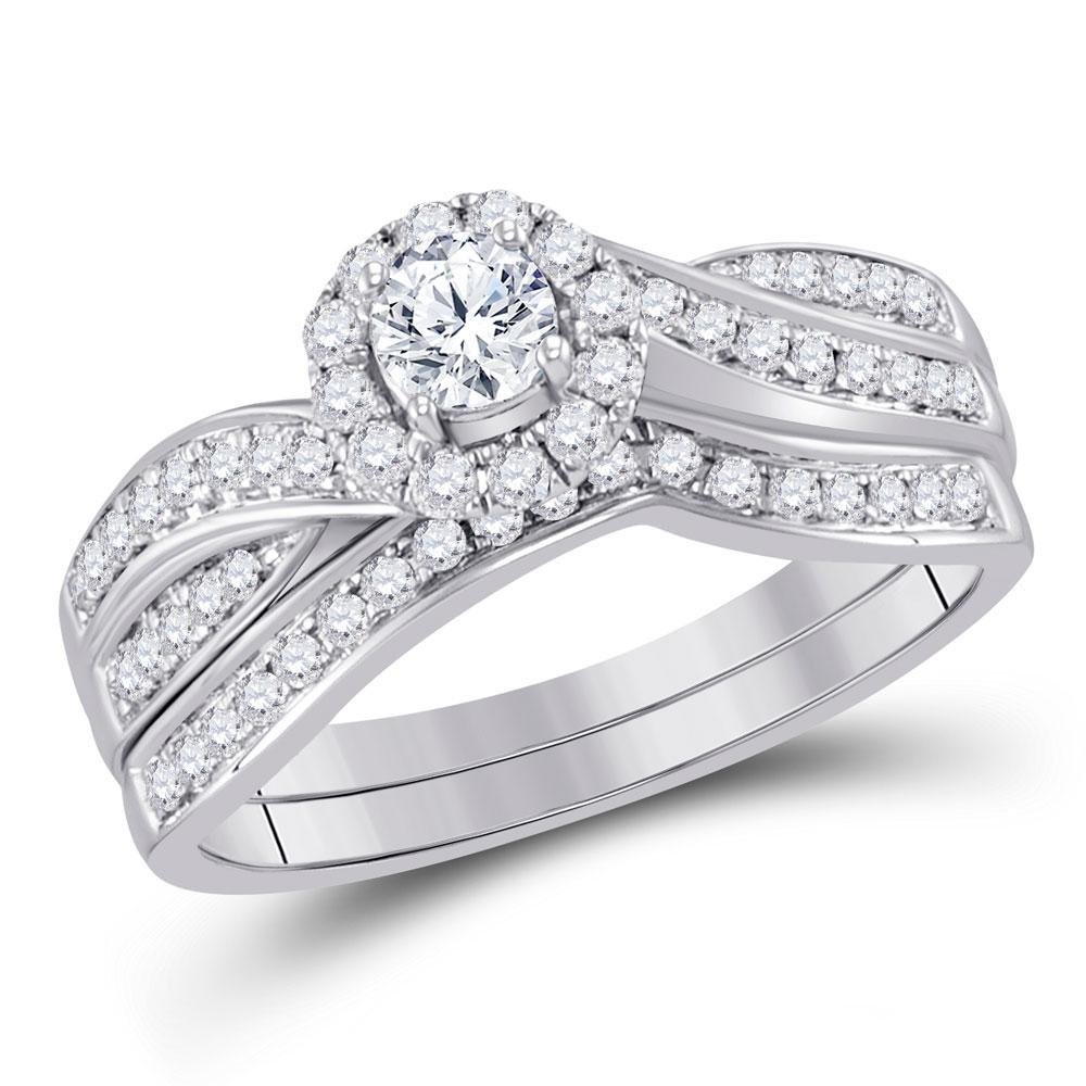 Diamond Bridal Wedding Engagement Ring Band Set 5/8