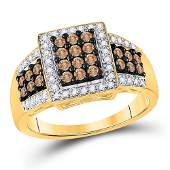 Round Brown Diamond Square Cluster Ring 58 Cttw 10kt