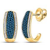 Round Blue Color Enhanced Diamond Half J Hoop Earrings