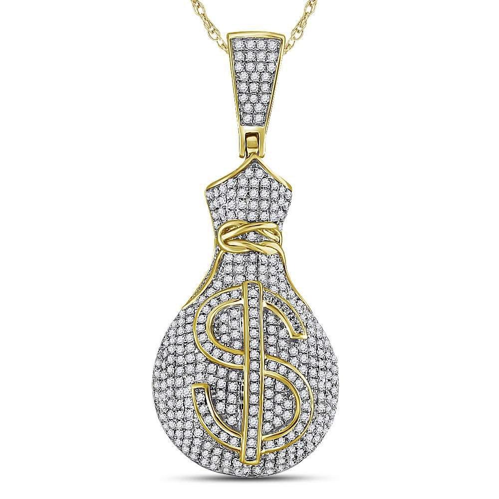 Mens Diamond Money Bag Dollar Sign Charm Pendant 1.00