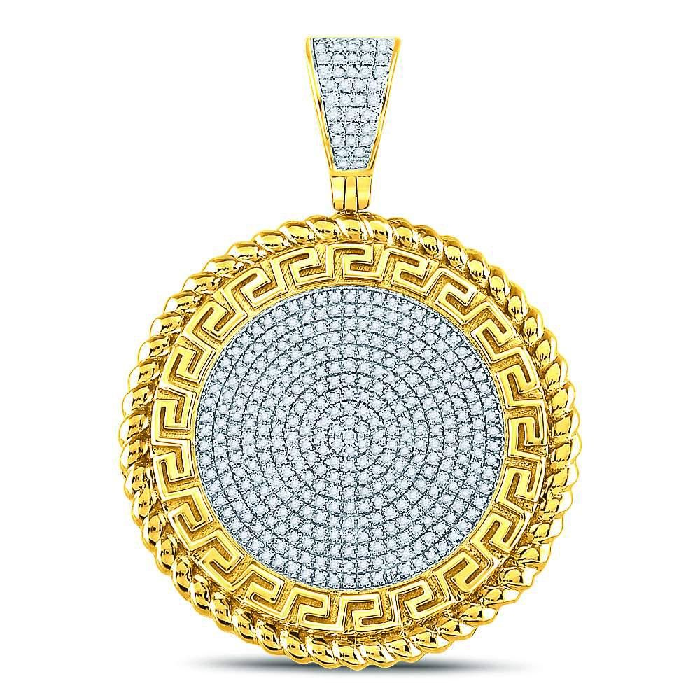 58 CTW Mens Round Diamond Greek Key Circle Charm