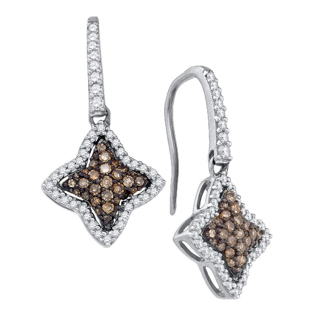 58 CTW Round Brown Diamond Star Dangle Earrings 10kt