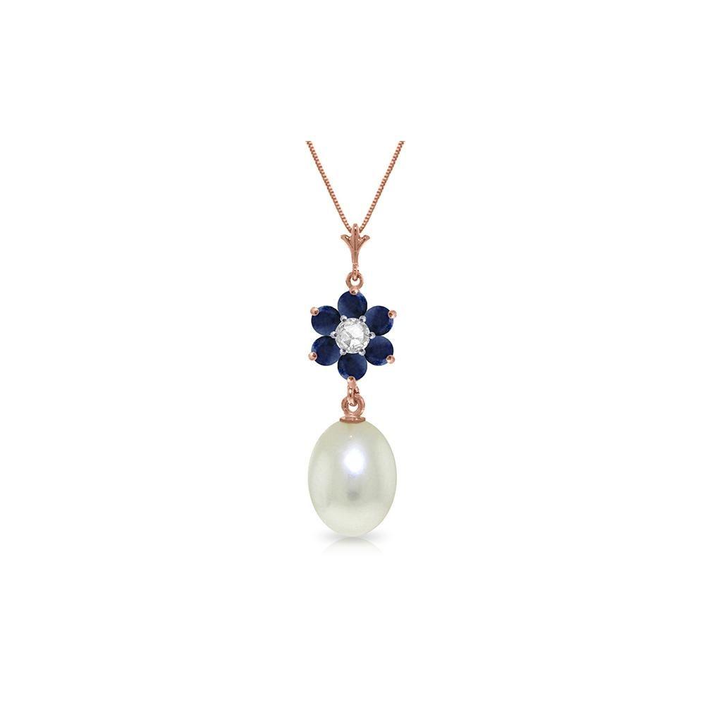 Genuine 453 ctw Pearl Sapphire Diamond Necklace