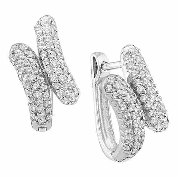 12 CTW Round Diamond Bypass Huggie Hoop Earrings 14kt