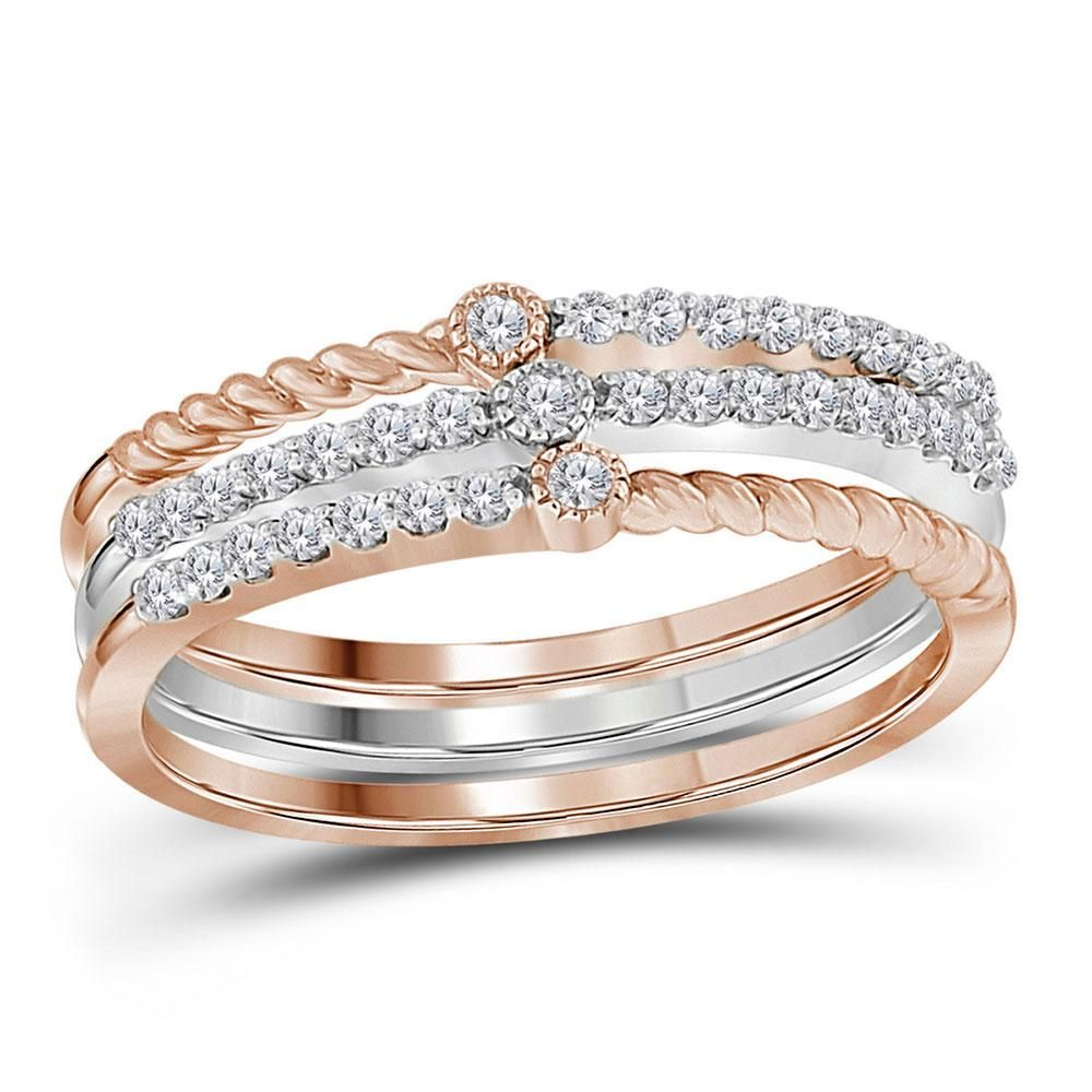 14 CTW Round Diamond Stackable Ring 10kt Twotone
