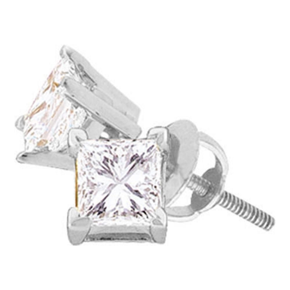 14 CTW Unisex Princess Diamond Solitaire Stud Earrings