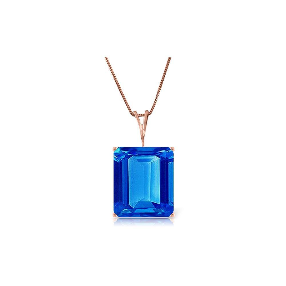 Genuine 7 ctw Blue Topaz Necklace 14KT Rose Gold