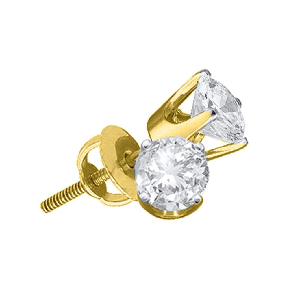 1 CTW Round Diamond Solitaire Earrings 14kt Yellow Gold