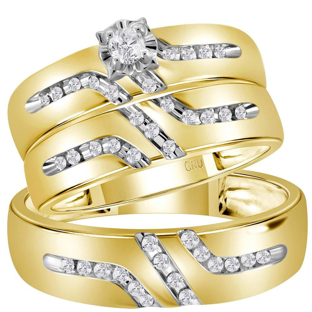 14 CTW His Hers Round Diamond Solitaire Matching