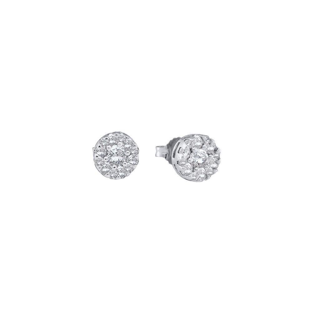14 CTW Round Diamond Flower Cluster Stud Earrings 14kt