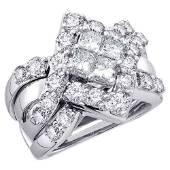 2 CTW Princess Diamond Cluster Bridal Wedding