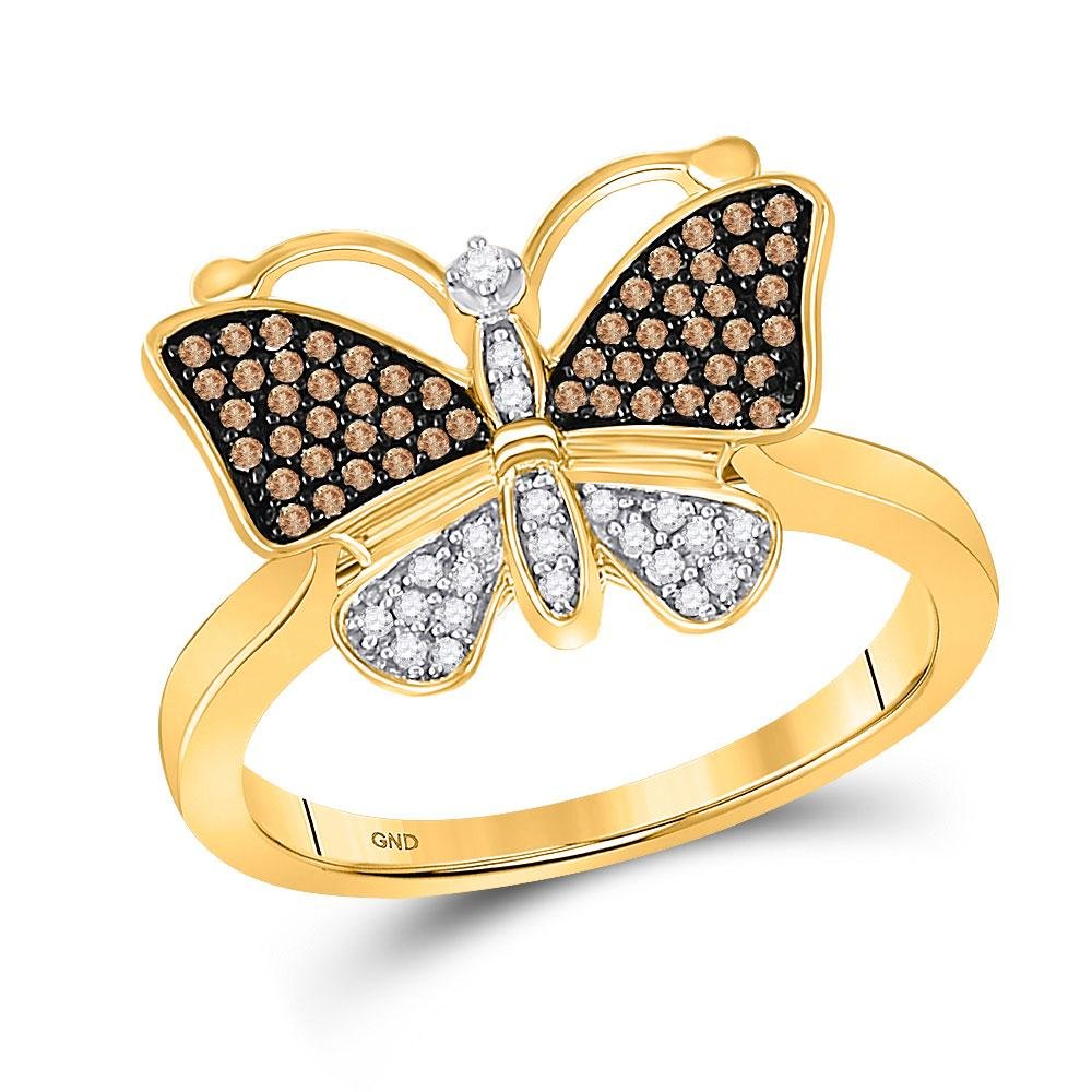 1/5 CTW Brown Round Diamond Cluster Butterfly Bug Ring