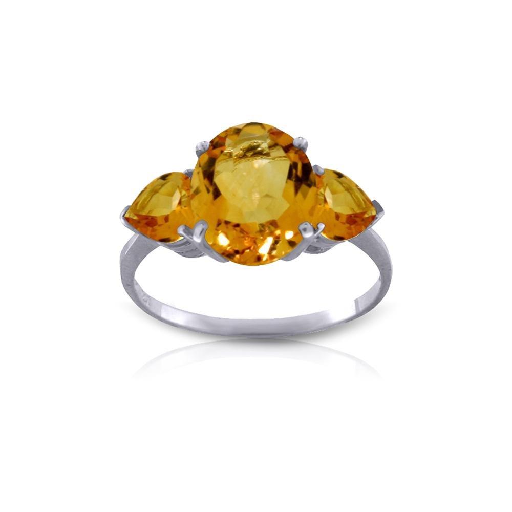 Genuine 3.5 ctw Citrine Ring 14KT White Gold -