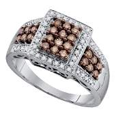 58 CTW Round Brown Diamond Square Cluster Ring 10kt