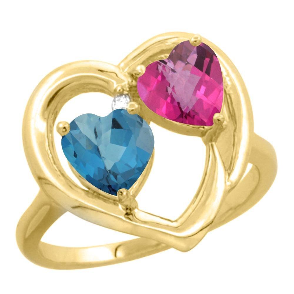 2.61 CTW Diamond, London Blue Topaz & Pink Topaz Ring