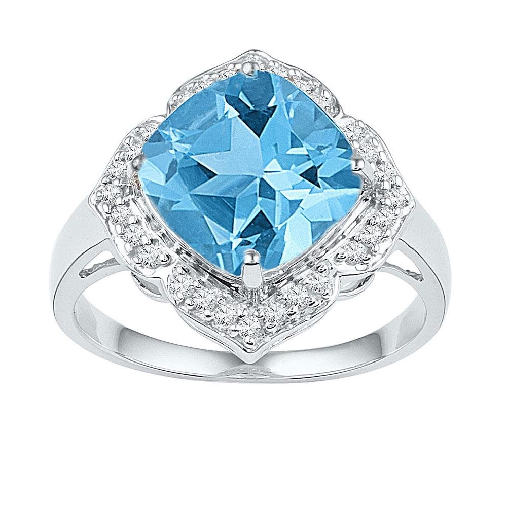 5 CTW Princess Lab-Created Blue Topaz Solitaire Ring