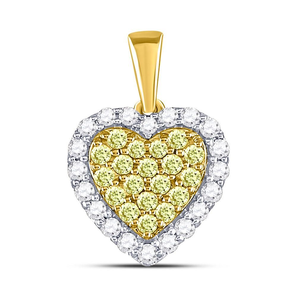 78 CTW Round Yellow Diamond Heart Frame Pendant 14kt