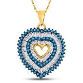 78 CTW Round Blue Color Enhanced Diamond Heart Outline
