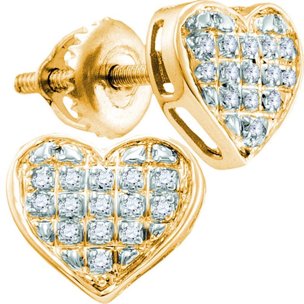 1/10 CTW Round Diamond Heart Cluster Earrings 10kt
