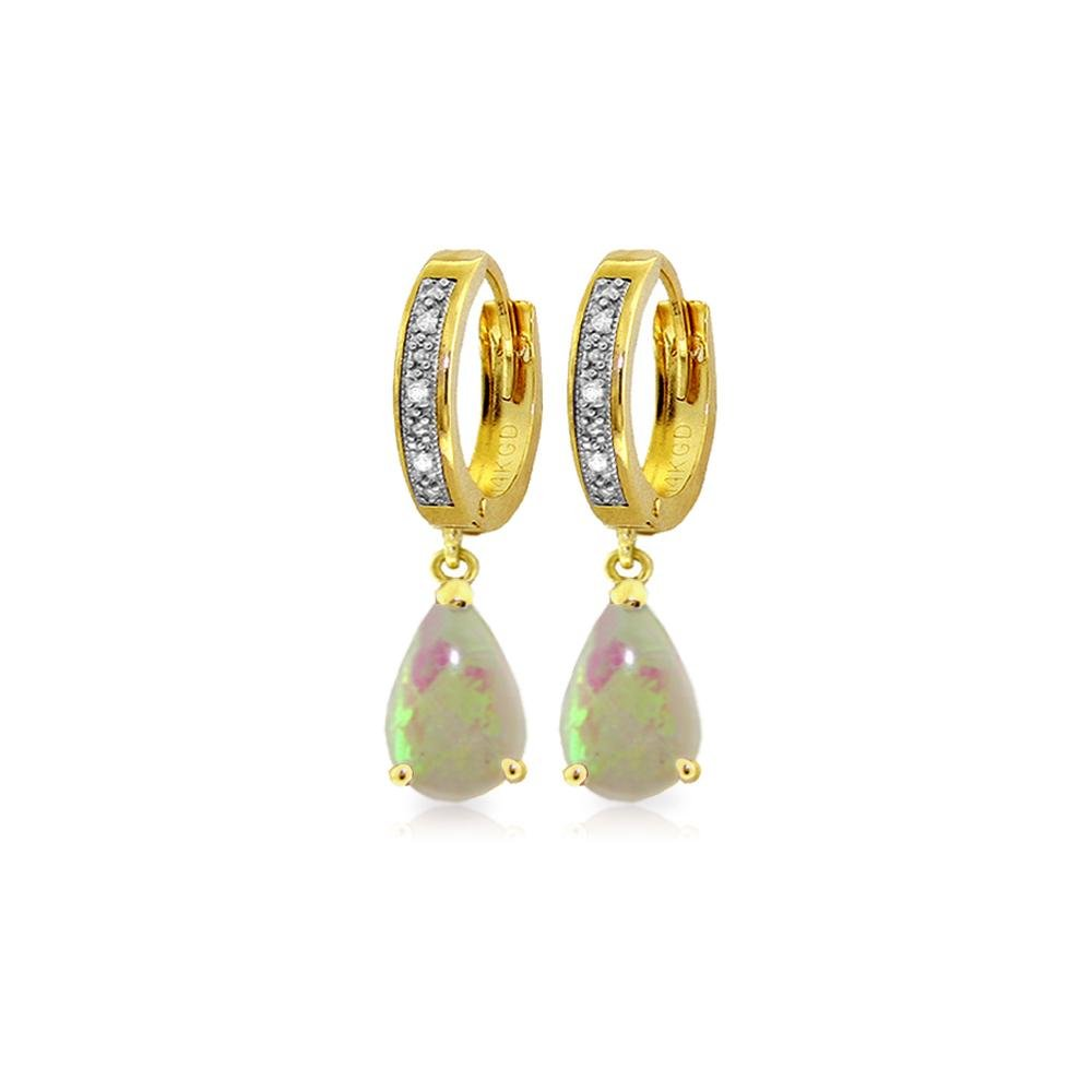 Genuine 1.58 ctw Opal & Diamond Earrings 14KT Yellow