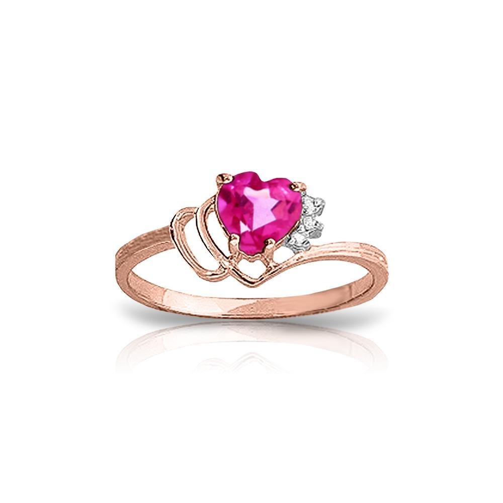 Genuine 0.97 ctw Pink Topaz & Diamond Ring 14KT Rose