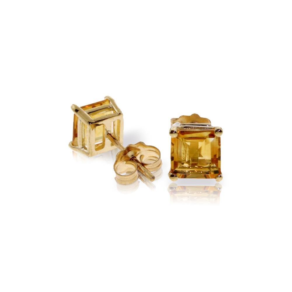 Genuine 1.75 ctw Citrine Earrings 14KT Yellow Gold -