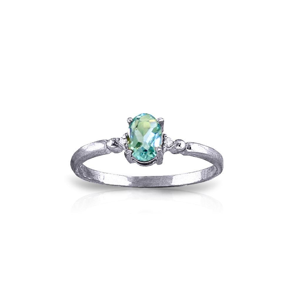 Genuine 0.46 ctw Blue Topaz & Diamond Ring 14KT White