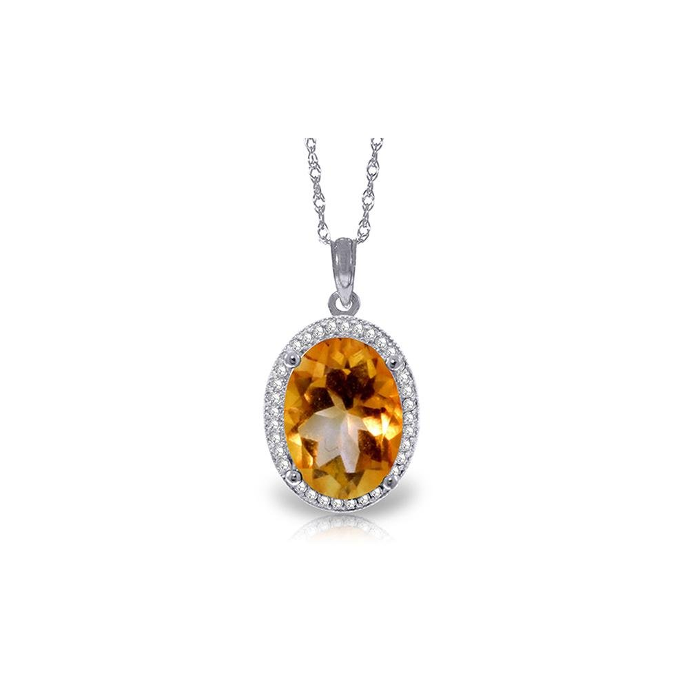 Genuine 4.88 ctw Citrine & Diamond Necklace 14KT White