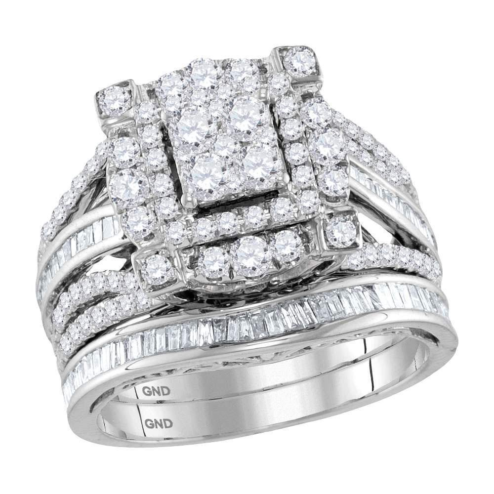Round Diamond Bridal Wedding Ring Band Set 1-3/4 Cttw