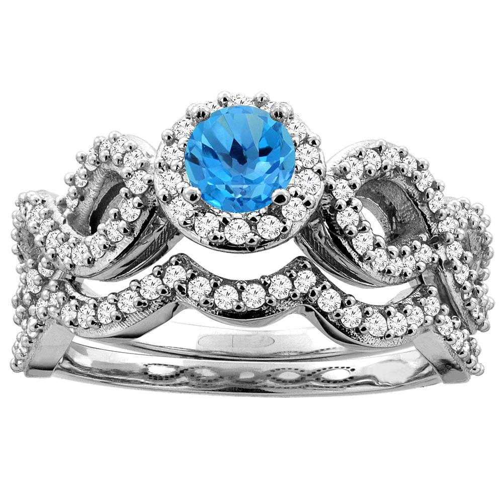 1.06 CTW Swiss Blue Topaz & Diamond Ring 10K White Gold