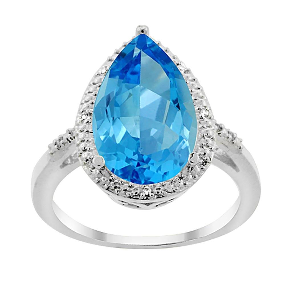 5.55 CTW Swiss Blue Topaz & Diamond Ring 10K White Gold