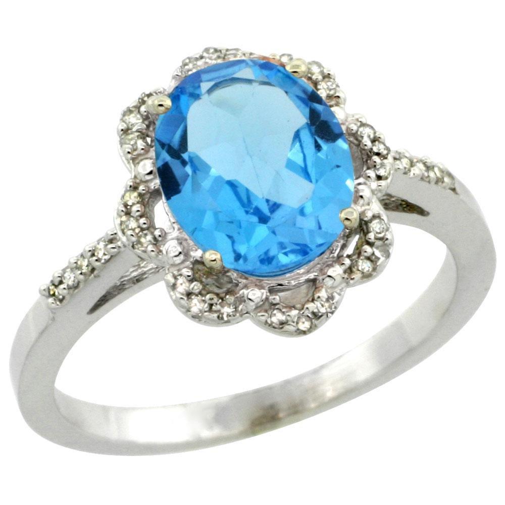 1.86 CTW Swiss Blue Topaz & Diamond Ring 10K White Gold