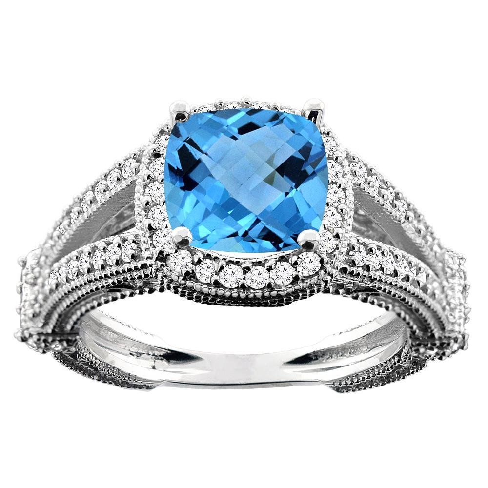 4.10 CTW Swiss Blue Topaz & Diamond Ring 10K White Gold