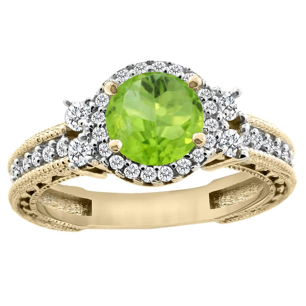 1.46 CTW Peridot & Diamond Ring 14K Yellow Gold -