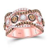 Womens Round Brown Diamond Fashion Band Ring 134 Cttw