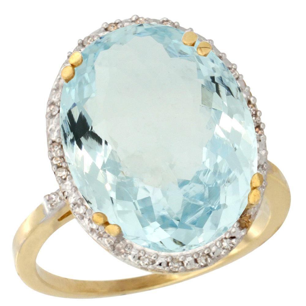 13.71 CTW Aquamarine & Diamond Ring 14K Yellow Gold -