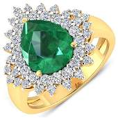 Natural 374 CTW Zambian Emerald  Diamond Ring 14K